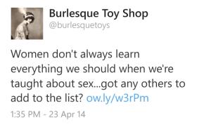 Burlesque Toys tweet screenshot
